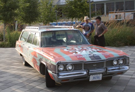A 1970s station wagon painted in Ottawa CityFolk colours